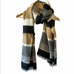 Soft Wide Striped Black, Cream & Tan Scarf